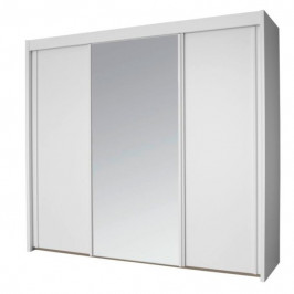Sconto Šatníková skriňa KING biela, 250 cm, 1 zrkadlo