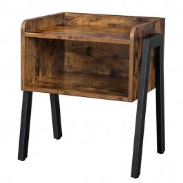 Sconto Prístavný stolík LET54X čierna/hnedá
