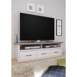 Sconto TV stolík PARVATI pínia biela/dub truffel