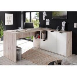 Sconto Rohový písací stôl QUADRO 39 dub/biela