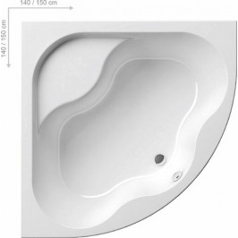 Rohová vaňa Ravak Gentiana 140x140 cm, akrylát, 240 l GE1400