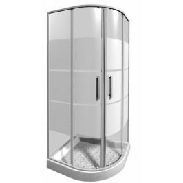 Sprchový kút Jika Lyra plus štvrťkruh 80 cm, R 550, sklo stripe, biely profil 5338.1.000.665.1
