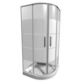Sprchový kút Jika Lyra plus štvrťkruh 90 cm, R 550, sklo stripe, biely profil 5338.2.000.665.1