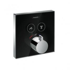 Vaňová batéria Hansgrohe Showerselect Glass bez podomietkového telesa čierna / chróm 15738600