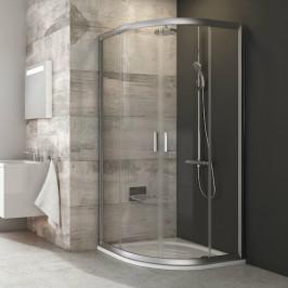 Sprchový kút Ravak Serie 200 štvrťkruh 80 cm, sklo číre, satin profil BLCP480TS