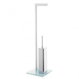Optima WC kefa Glass voľne stojaci, biela/chróm GLASDRZSTETB
