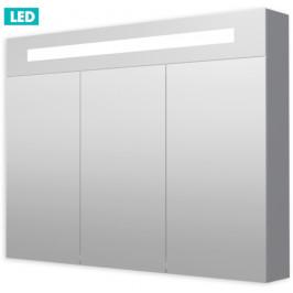 Zrkadlová skrinka s osvetlením Naturel Iluxit 100x75 cm MDF šedostrieborná GALZS100LED