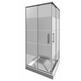 Sprchový kút Jika Lyra plus štvorec 90 cm, sklo stripe, biely profil 5138.2.000.665.1