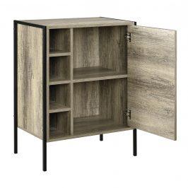Skrinka - komoda - čierna a imitácia dreva - 78 x 60 x 39 cm