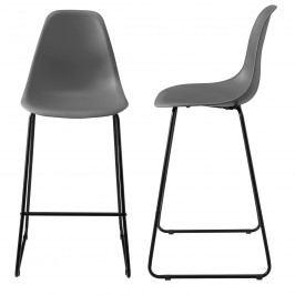 Dizajnové barové stoličky (2 kusová sada) - tmavo sivé