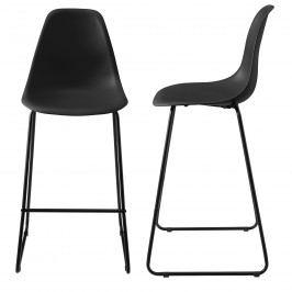 Dizajnové barové stoličky (2 kusová sada) - čierne