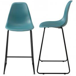 Dizajnové barové stoličky (2 kusová sada) - tyrkysové