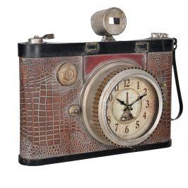 Nástenné hodiny v tvare starého fotoaparátu - analógové - 43 x 14 x 34 cm – farebné - sklo