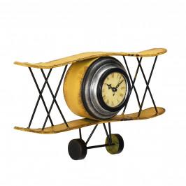 Nástenné hodiny v tvare dvojplošného lietadla - analógové - 38 x 7 x 21,5 cm - farebné