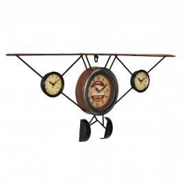 Nástenné hodiny tvar starého lietadla - analógové - 78 x 5 x 32 cm - farebné – sklo