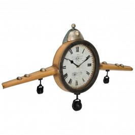 Nástenné hodiny tvar starého lietadla - analógové - 86 x 6 x 44 cm - farebné – sklo