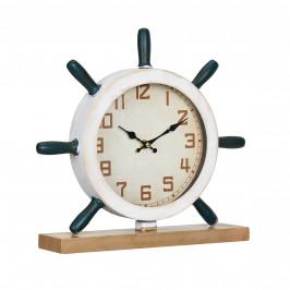 Stolové hodiny v tvare kormidla - analógové - 34 x 8 x 32 cm - farebné - sklo