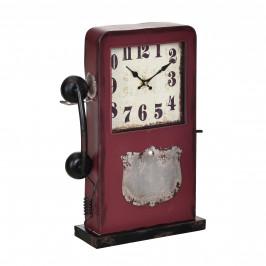 Stolové hodiny tvar telefónnej búdky - analógové - 33 x 9 x 40,5 cm - farebné - sklo
