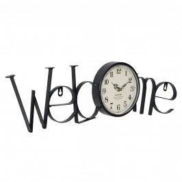 Nástenné hodiny nápis Welcome - analógové - 60,5 x 3,5 x 16,5 cm - farebné