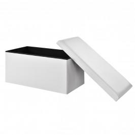 2-v-1 Box na sedenie s odkladacím priestorom - 76 x 38 x 38 cm - biely - XXL