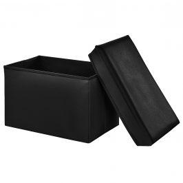 2-v-1 Box na sedenie s odkladacím priestorom - 48 x 32 x 32 cm - čierny - XL
