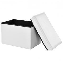 [en.casa]®2-v-1 Box na sedenie s odkladacím priestorom - 48 x 32 x 32 cm - biely - XL