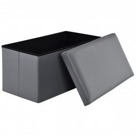 2-v-1 Box na sedenie s odkladacím priestorom - 76 x 38 x 38 cm - sivý - XXL