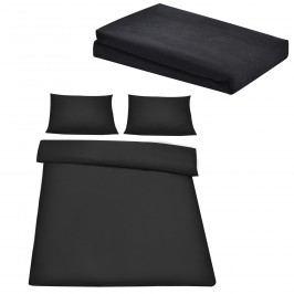 Sada posteľná bielizeň 200 x 200 cm + plachta 180-200 x 200 cm - čierna