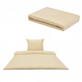 Sada posteľná bielizeň 135 x 200 cm + plachta 90-100 x 200 cm - béžová