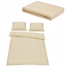 Sada posteľná bielizeň 200 x 200 cm + plachta 180-200 x 200 cm - béžová