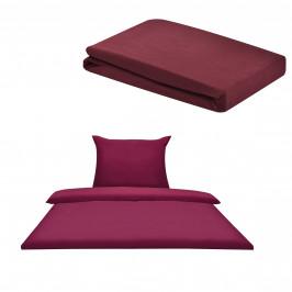 Sada posteľná bielizeň 155 x 200 cm + plachta 90-100 x 200 cm - bordová