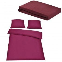Sada posteľná bielizeň 200 x 200 cm + plachta 180-200 x 200 cm - bordová