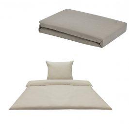 Sada posteľná bielizeň 155 x 200 cm + plachta 90-100 x 200 cm - piesková