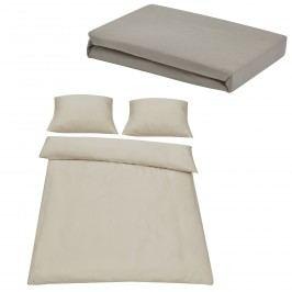 Sada posteľná bielizeň 200 x 200 cm + plachta 180-200 x 200 cm - piesková