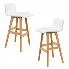 Sada 2 barových stoličiek - 98 x 48 x 49 cm - biela