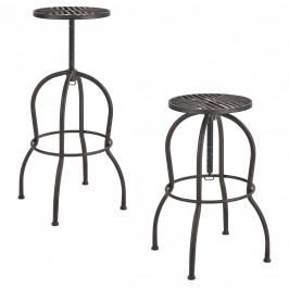 Sada 2 barových stoličiek - 66 x 39 x 39 cm - hnedá patina