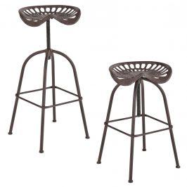 Sada 2 barových stoličiek - 72 x 42 x 36 cm - hnedá patina