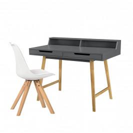 [en.casa] Kancelársky stôl zo stoličkou - 85cmx110cmx60cm - sivý