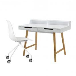 Dizajnový stôl so stoličkou - biely - Münster