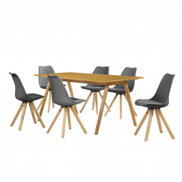 [sk.casa]® Dizajnový bambusový jedálenský stôl - 180 x 80 cm - bambus - so 6 sivými stoličkami
