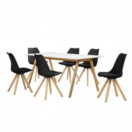 [sk.casa]® Dizajnový bambusový jedálenský stôl - 180 x 80 cm - biely - so 6 čiernymi stoličkami