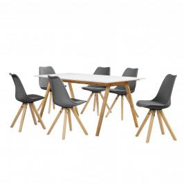 [sk.casa]® Dizajnový bambusový jedálenský stôl - 180 x 80 cm - biely - so 6 sivými stoličkami
