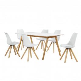[sk.casa]® Dizajnový bambusový jedálenský stôl - 180 x 80 cm - biela - so 6 bielymi stoličkami