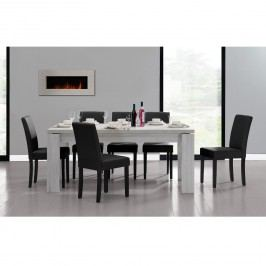Rustikálny dubový jedálenský stôl so 6 stoličkami - biely stôl - čierne stoličky