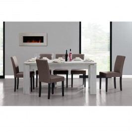 Rustikálny dubový jedálenský stôl so 6 stoličkami - biely stôl - hnedé stoličky