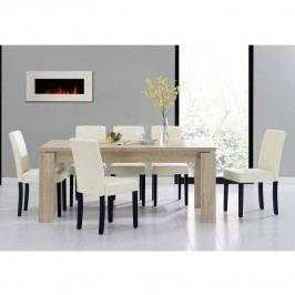 Rustikálny dubový jedálenský stôl so 6 stoličkami - svetlý stôl - krémové stoličky
