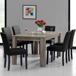 Rustikálny dubový jedálenský stôl so 6 stoličkami - sivý stôl - čierne stoličky