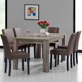 Rustikálny dubový jedálenský stôl so 6 stoličkami - sivý stôl - hnedé stoličky