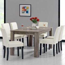 Rustikálny dubový jedálenský stôl so 6 stoličkami - sivý stôl - krémové stoličky