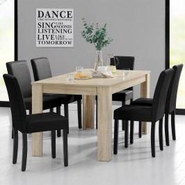 Rustikálny dubový jedálenský stôl so 6 stoličkami - svetlý stôl - čierne stoličky